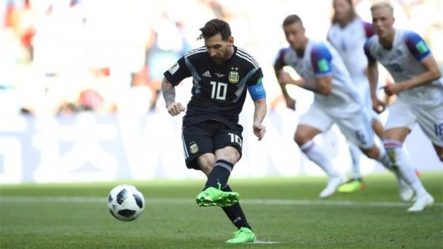 """Argentina vs Iceland - Spartak Stadium, Moscow, Russia - June 16, 2018 Argentina""""s Lionel Messi misses a penalty"""