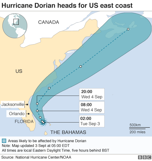 Hurricane Dorian weakens to Cat 3, will move 'dangerously close' to the Florida east coast late...