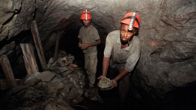 Miners in the Mererani mine
