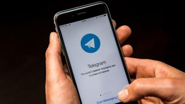 Telegram messaging app on smartphone