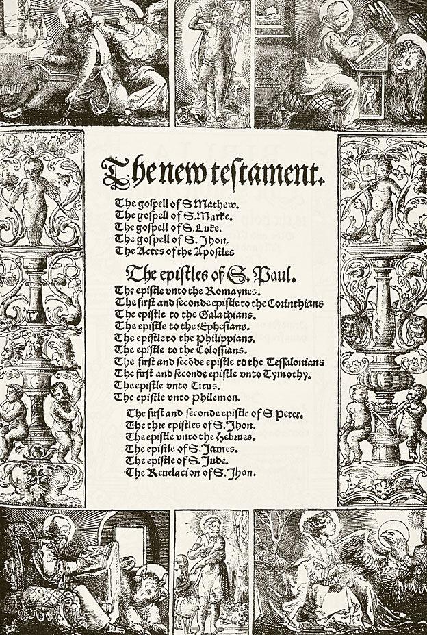 Página da Bíblia de Tyndale traduzida para o inglês