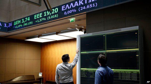 Two men at Athens stock exchange