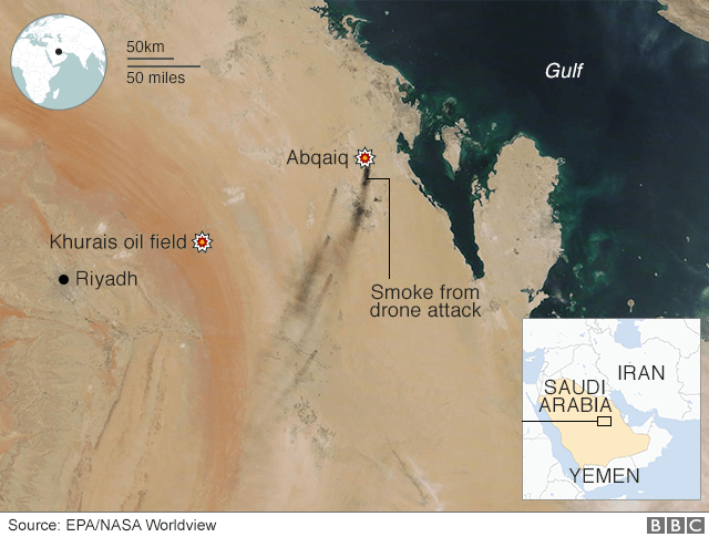 Map showing targeted oil facilities
