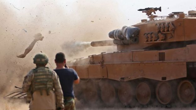 Tank Turki di Suriah Utara.