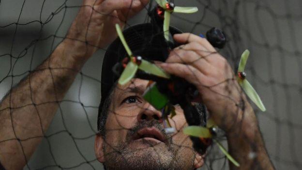 Drone caught in net