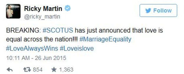 """Singer Ricky Martin tweets that the Court has ruled that """"love is equal"""" in the US."""