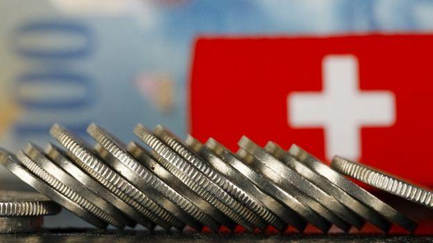 Francos suizos y bandera
