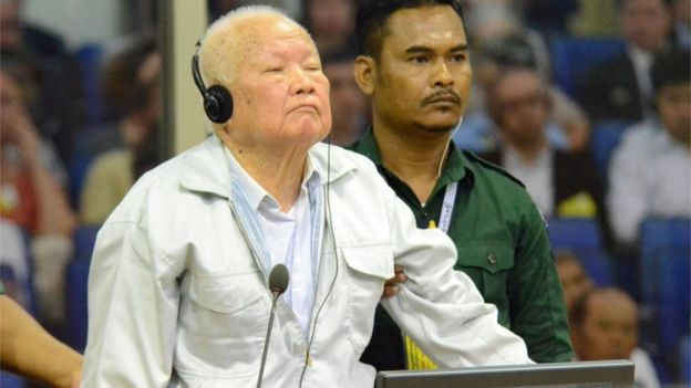 Khieu Samphan stands in court