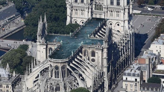Notre Dame Cathedral with a rooftop pool