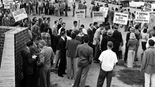 Walt Disney Studios: Members of the AFL Screen Cartoonists' Guild at a picket line, demanding recognition as the collective bargaining agency and reinstatement of leaders discharged for union activity, Burbank, CA, 28 May 1941
