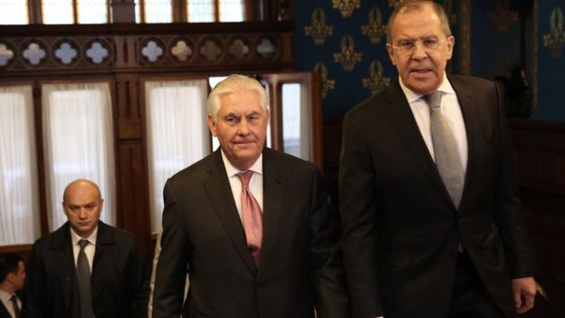 A handout photo made available by the US Department of State shows US Secretary of State Rex Tillerson (C) and Russian Foreign Minister Sergei Lavrov (R) ahead of their bilateral meeting at the Osobnyak Guest House in Moscow, Russia, 12 April 2017
