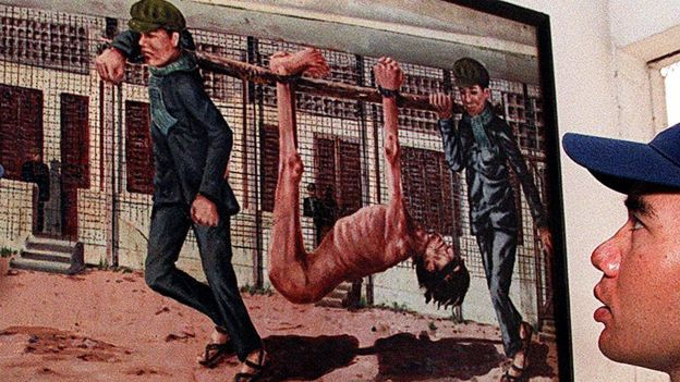 Pintura de dos soldados llevando a un muerto como si fuera un animal