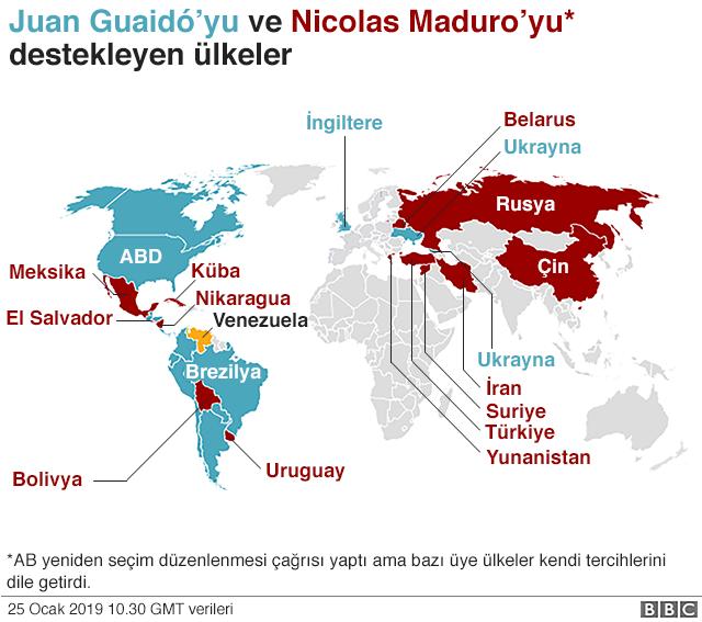 Maduro karşıtı ve yanlısı ülkeler