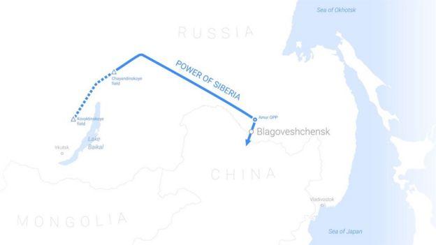 نقشه مسیر خط لوله قدرت سیبری