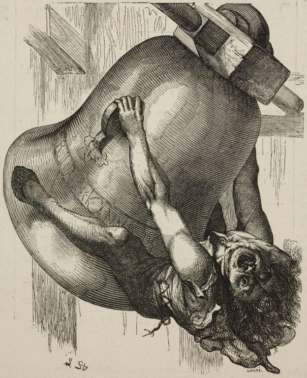 Quasimodo se agarra a um sino. Desenho de Lemud de O Corcunda de Notre-Dame, de Victor Hugo, ilustração de L'Illustration, Journal Universel, 1877.
