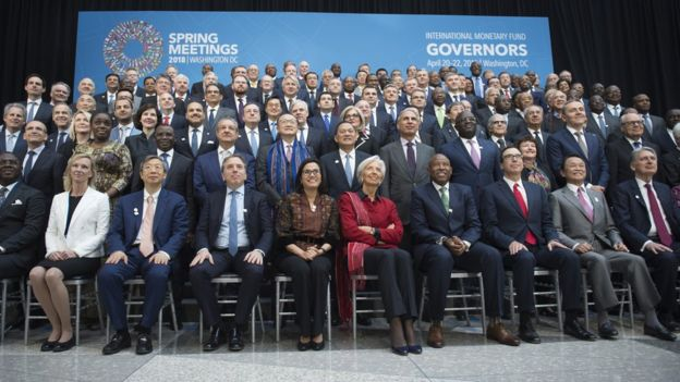 Finance ministers and central banks governors pose for IMFC family photo during the IMF/World Bank spring meeting in Washington, DC on April 21, 2018.