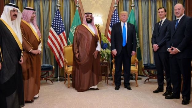 Donald Trump, (d), in his visit to Riyadh