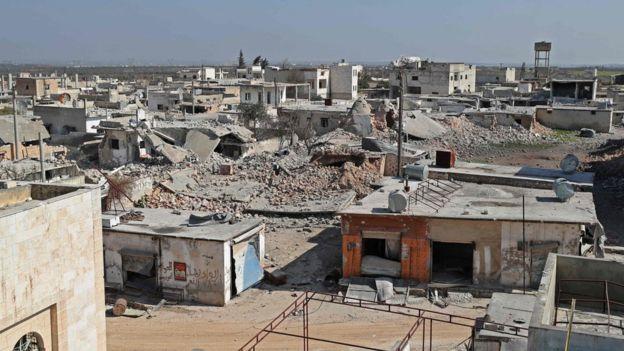 جانب من الدمار في محافظة إدلب