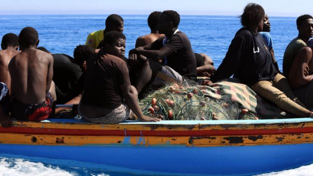 Libyan coastguards help rescue illegal immigrants attempting to reach Europe off the coastal town of Guarabouli, 60 kilometres (36 miles) east of the capital, on July 8, 2017