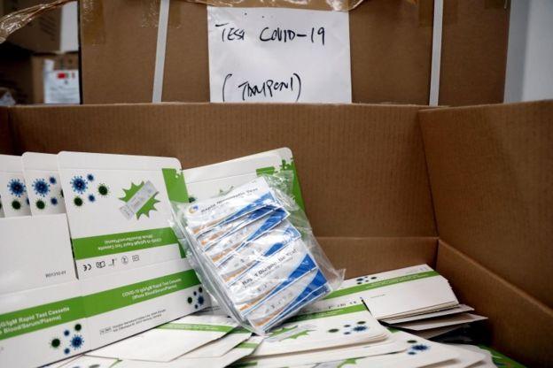 Pruebas de covid-19 de China enviadas a Italia
