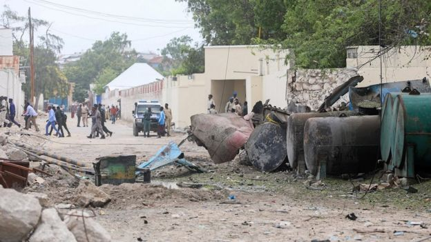 Aftermath of bombing of Somalia restaurant attack