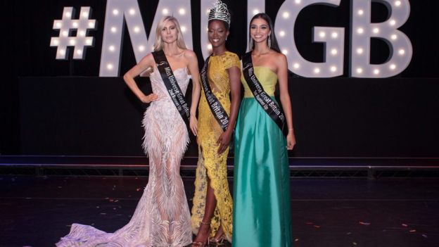 Dee-Ann Kentish-Rogers (centre) and the two Miss Universe runners-up