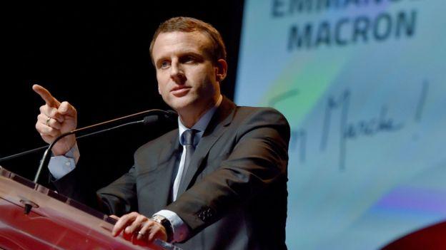 Cựu bộ trưởng kinh tế Emmanuel Macron phát biểu tại cuộc họp của 'Liên đoàn doanh nghiệp' tại Ille-et-Vilaine tháng 12/2016