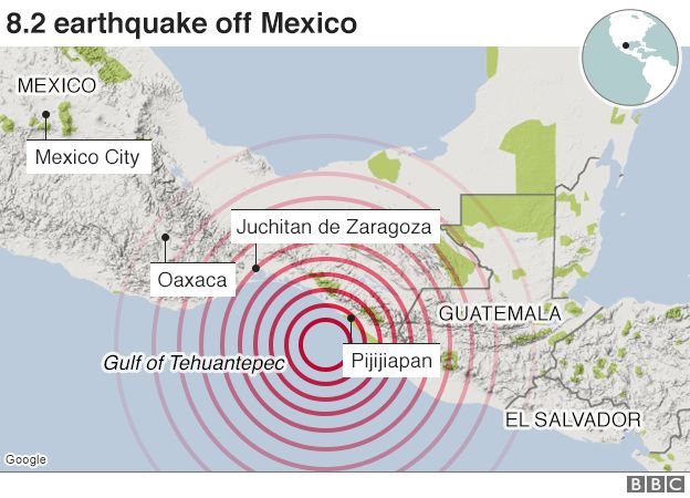 Mexicos Strongest Quake In A Century Strikes Off Southern Coast - After the earthquake new map of us