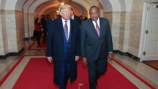 Rais Uhuru Kenyatta na rais Donald Trump wakati wa mkutano wa kibiashara kati ya mataifa hayo mawili