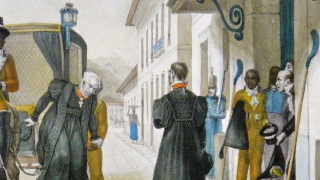 Pintura de Jean-Baptiste Debret retrata desembargadores chegando ao Palácio de Justiça no Rio de Janeiro