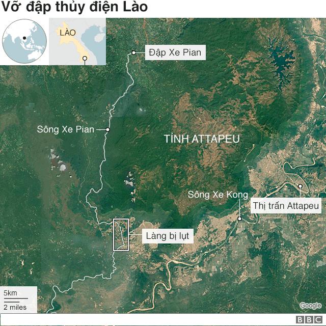 Bản đồ vỡ đập ở Lào