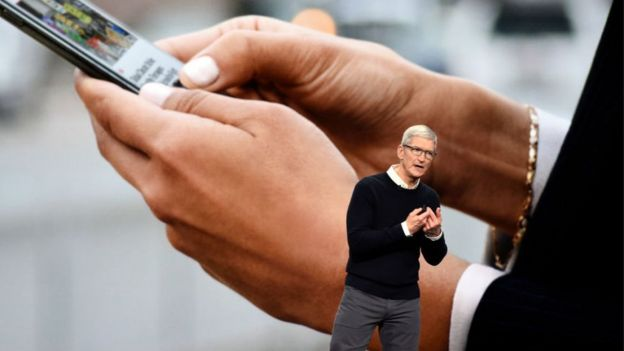 Tim Cook durante el evento de Apple