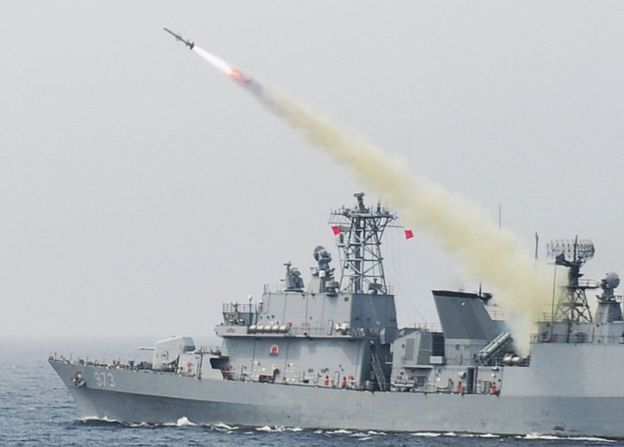 A handout photo made available by the South Korean Navy shows the 3,200-ton destroyer Yang Manchun firing a Harpoon anti-ship missile as the Navy and Air Force conduct a joint live-fire drill in the East Sea, 6 July 2017.