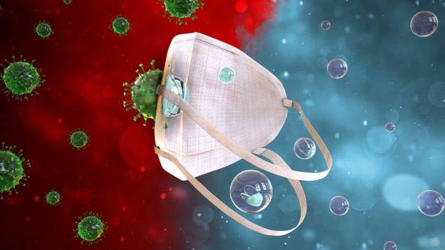 Ilustração mostra máscara barrando vírus