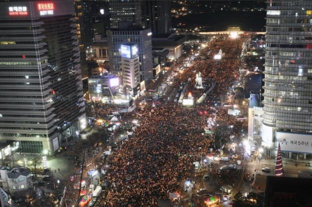 Masses of protesters occupy major streets in the city centre for a rally against South Korean President Park Geun-Hye in Seoul, South Korea, on 10 December 2016.