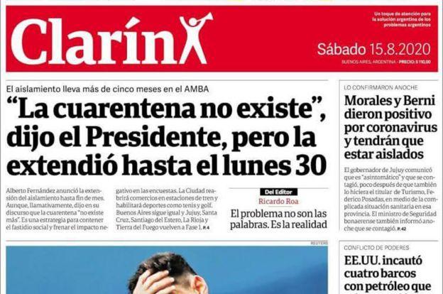 Portada del diario Clarín del 15 de agosto de 2020
