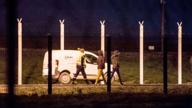 Migrants at the Eurotunnel terminal in Calais