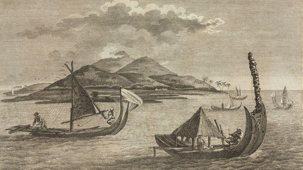 Grabado de embarcaciones polinesias