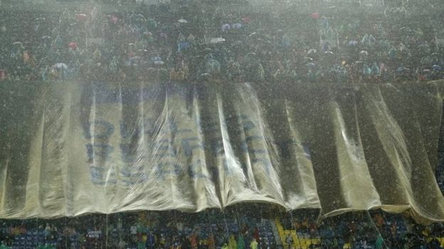 Barcelona football fans unveil banner that reads