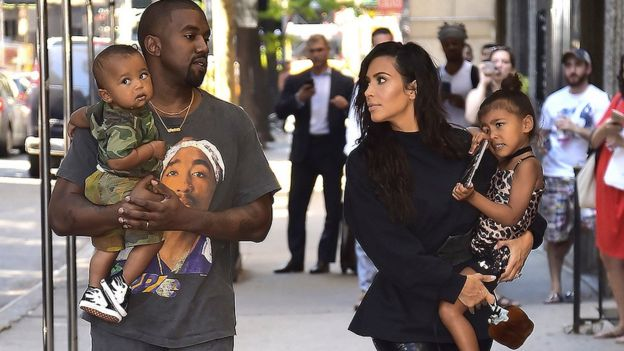 Image result for Kim and Kanye West with kids