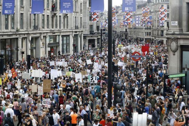 Protestas en el centro de Londres
