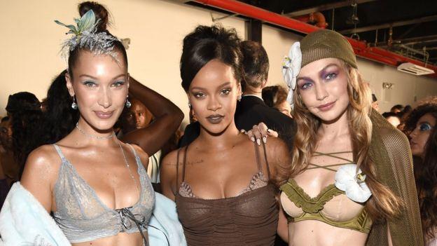 Bella Hadid, Rihanna and Gigi Hadid pictured at New York Fashion Week