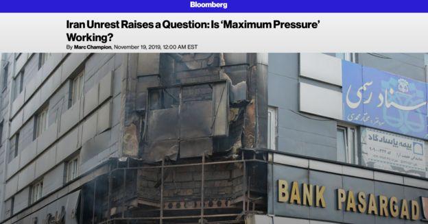 نشریه اقتصادی بلومبرگ این پرسش را طرح کرده که آیا اعتراضات در ایران ماحصل سیاست فشار حداکثری آمریکا بوده