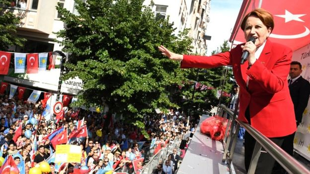 Leader of Turkey's Iyi (Good) Party and presidential candidate Meral Aksener addresses supporters at a rally at Avcilar Marmara on 22 June 2018 in Istanbul, Turkey