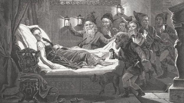 Ilustración de la historia de Blancanieves por Carl Bertling (German painter, 1835 - 1918).