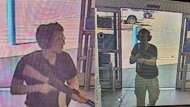 Rekaman CCTV menunjukkan seorang pria yang diduga sebagai penembak di El Paso