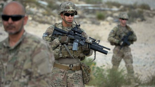 US soldiers patrol during the final day of a month long anti-Taliban operation