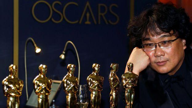 Bong Joon-ho with his Oscars