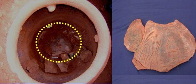 ஆதிச்சநல்லூர் அகழாய்வில் கிடைத்த மண்பாண்டத்தில் காணப்படும் உருவம்
