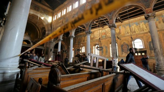 Damage from the explosion inside Cairo